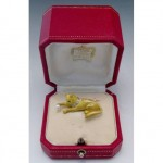antique cartier 18k jeweled cat brooch