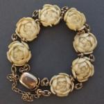 antique chinese 14k carved floral bracelet