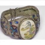 antique chinese engraved faux ivory enamel bracelet