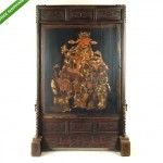 antique huge chinee painted gilt and carved wood floor screen