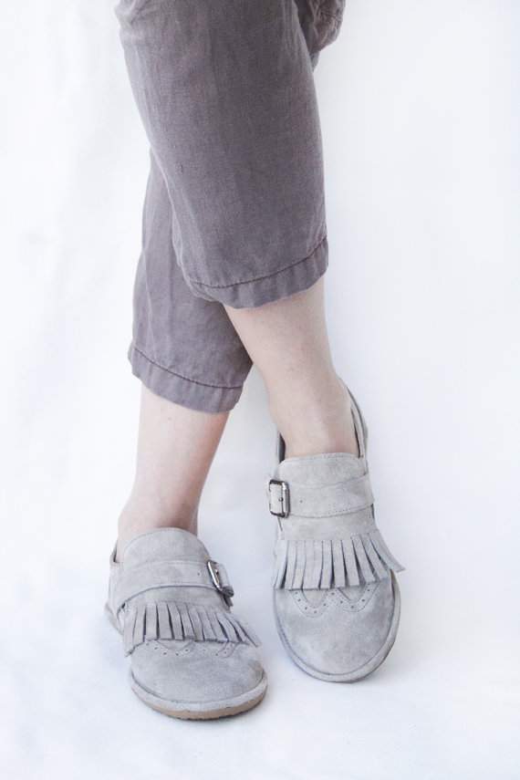 custom fit fringed suede loafers