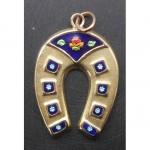 vintage 14k enamel horseshow charm pendant