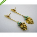 vintage 14k turquoise leap earrings