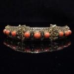 vintage 1920 chinese coral filigree bracelet