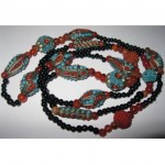 vintage 1930s art deco carnelian jet glass turqoise coral necklace