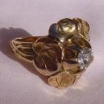 vintage 1937 carl schon 14k diamond flower ring