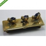 vintage brass purple gem stone stamp box