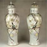 vintage chinese liu lu cen porcelain vases