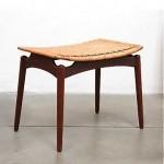 vintage danish teak and cane stool bench