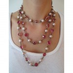 vintage french pearl and crystal sautoir