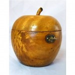 vintage hand carved fruitwood apple tea caddy