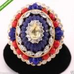 vintage huge sapphire diamond lapis coral 18k ring