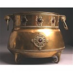 vintage large brass arts and crafts planter with stone inlay