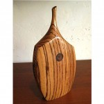 vintage mid-century carved wood weed pot