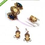 vintage selro bracelet earrings ring set