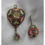 vintage victorian pair of italian micro mosaic pendants