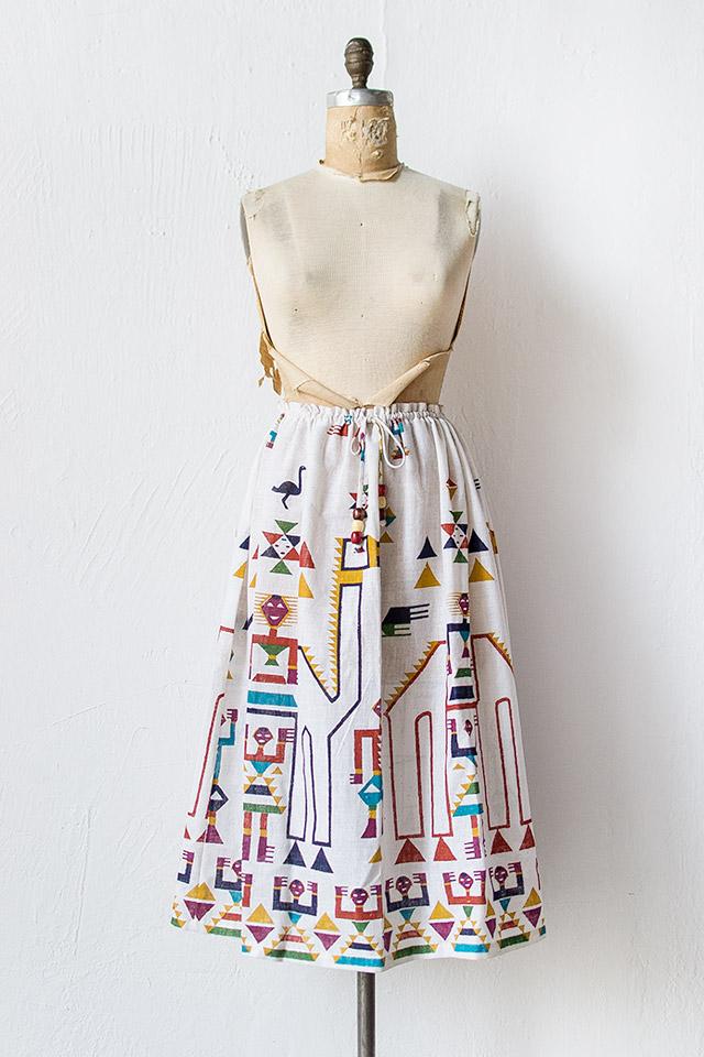 vintage 1980s ethnic print drawstring skirt