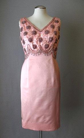 Vintage 1960s beaded silk dress