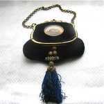 antique 1870s french velvet enamel handbag