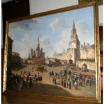 antique huge russian oil painting
