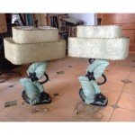 vintage 1950s continental art co chalkware lamps