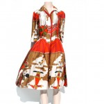 vintage 1950s holly hoelscher circus print shirt dress