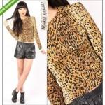 vintage 1970s norma kamali leopard print top