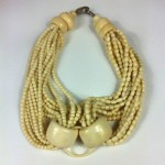 vintage 1985 gerda lynggaard monies bone horn necklace