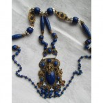vintage art deco czech lapis glass necklace