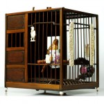 vintage chinese bamboo bird cage with painted parakeet