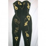 vintage mid-century ceeb of miami embroidered stretch jumpsuit
