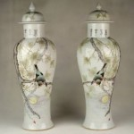 vintage pair of early 20th century chinese porcelain vases