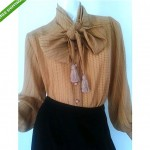 vintage valentino boutique silk blouse with fringe tassles