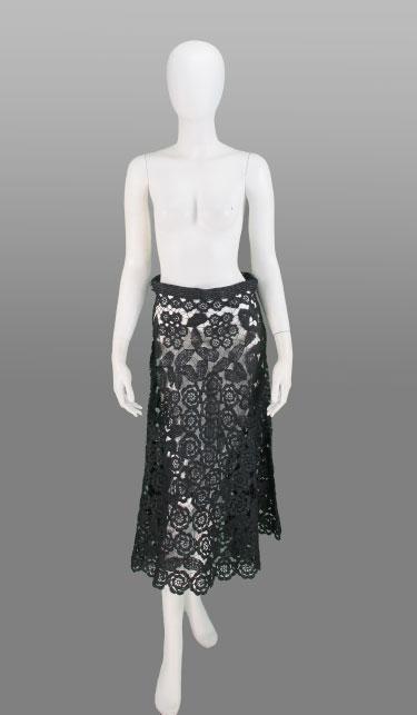 vintage 1960s raffia crochet skirt