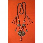 antique 19th century chinese silver neckace with coral and turquoise
