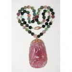 antique chinese 14k carved pink tourmaline beaded necklace