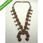 antique sterling coral squash blossom necklace