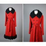 vintage 1960s lamb fur tri wool coat