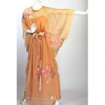 vintage 1970s malcolm starr hand painted chiffon gown