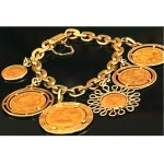 vintage carlo weingrill gold coin charm bracelet