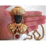 vintage christian dior blackmoor brooch pendant necklace