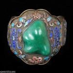 vintage deco chinese silver filigree enamel chrysoprase stone bracelet