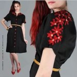 vintage embroidered black linen dress
