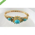 antique 14kt turquoise cabochon bracelet