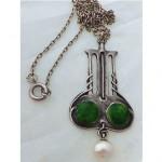 antique 1906 art nouveau enamel pearl silver necklace
