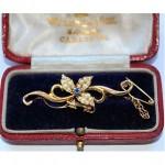 antique 1911 edwardian sapphire pearl brooch