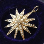 antique 1915 seed pearl pendant brooch