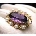antique art nouveau amethyst seed pearl ring