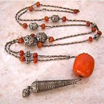 antique baltic amber and persian silver necklace