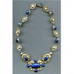 antique chinese lapis lazuli silver necklace